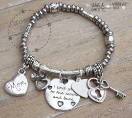 "Armbandje Just Silver ""Love Moon"" en mom"