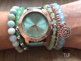 Horloge met armbanden LS mint rosé