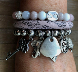 Armbandenset  LS  pinky much silver