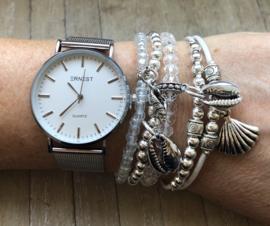 Horloge met armbanden Zilver Silver