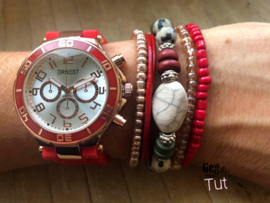 Horloge met armbanden New Red rosé and colours