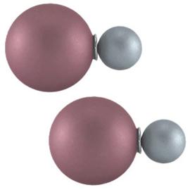 Double Dots pearl oorbellen mat aubergine grey