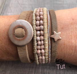 Armbandenset Natural beads and leather