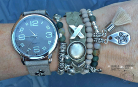 Armbandenset met horloge Sand and Green Indian Agate