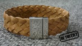 Heren leren armband nature plat gevlochten breed