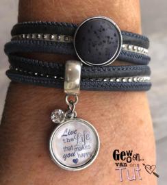 Armband wrap navy grey met tekstbedel