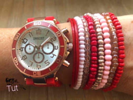 Horloge met armbanden New Red rosé and pink