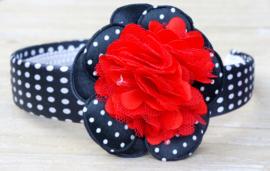 Diadeem / Haarband breed, zwat/wit/rood polkadot bloem
