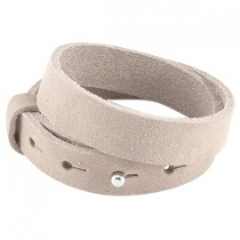 Armband 15 mm nubuck soft satin brown dubbel