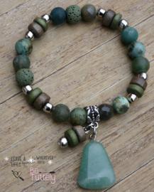 Armband natuursteen  green mix