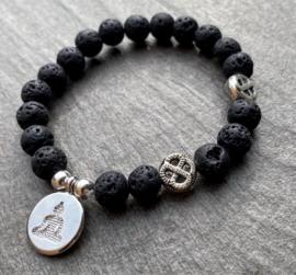 Heren kralenarmband Lava steen zwart