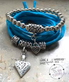 Stretchy Wrap met kralenbandje Turquoise