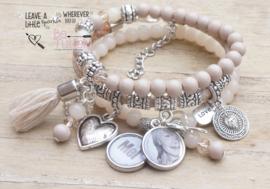 Armbandenset Nude / beige met foto- en naambedel
