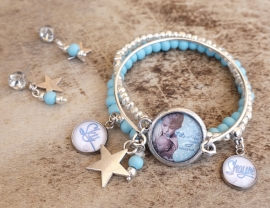 Mama-armband, set van 3, blauw