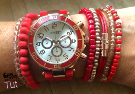 Horloge met armbanden New Red rosé and leather