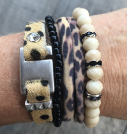 Armbandenset Leopard creme