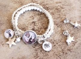 Mama-armband, set van 3, wit