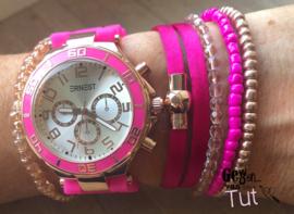 Horloge met armbanden New Neon Pink satin
