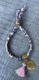 M&M elastisch leopard initial black/gold/pink (meer kleurtjes mogelijk)