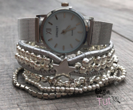 Horloge met armbanden Silver, silver and silver Star
