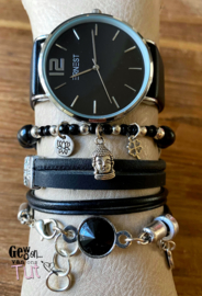 Horloge met armbanden black silver