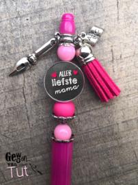 Pen voor mama (keuze uit 6 kleuren) met tekst en bedels