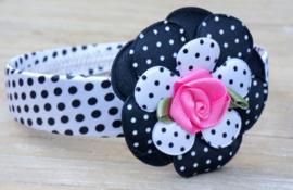 Diadeem / Haarband breed, wit/zwart/roze polkadot bloem