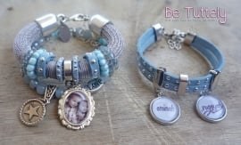 Foto armbandenset Summer Dreams blue met foto en naambedels