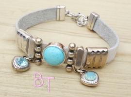 Ibiza Summer 2015 mix & match armband vachtleer offwhite met turquoise