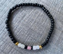 M&M elastisch kralenbandje   black/gold/pink