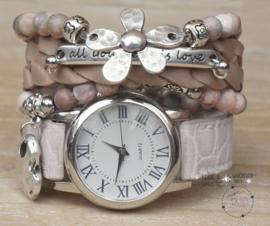 Armbandenset met horloge Croco Nude Pink