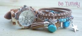 Armbandenset met horloge camel / turquoise