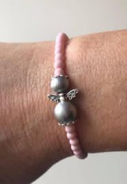 Guardian Angel armbandje, pink (engeltje in kleur naar keuze)
