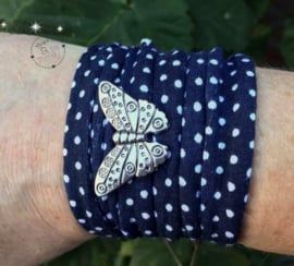 Stretchy Wrap navy polka dot