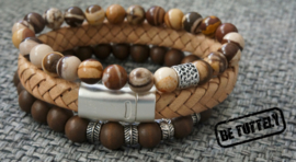 Heren armbandenset all leather Nature