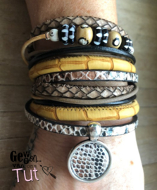 Armbandenset LS wrap with bone beads and oker!