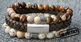 Heren armbandenset dubble beads and earth