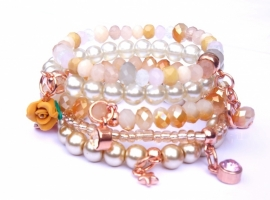 Armbandenset natural met rose gold, 5 delig