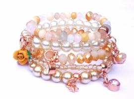 Armbandenset natural met rose gold, 5 delig