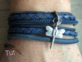 Armband wrap blue libelle