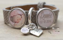 Fotoarmband met 2 foto/tekstsliders, zilveren ring en bedels