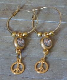Oorbellen; Creolen goud met polaris en peace