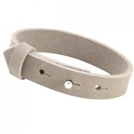 Armband 15 mm nubuck leer grey beige