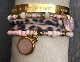 Armbandenset LS pink gold leopard
