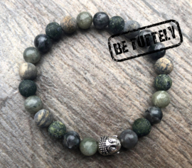 Stoere herenarmband natuursteen, mix green/grey/beige