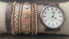 Horloge met armbanden LS rosegold dream
