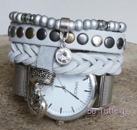 Armbandenset met horloge Silver Grey