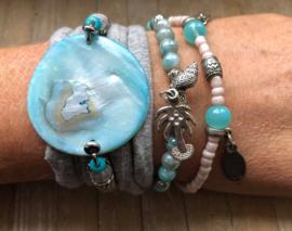 Armbandenset  LS grey turquoise schelp