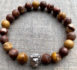 Heren kralenarmband Jaspis mix brown