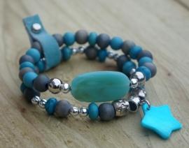 Armbandenset Grey Ibiza blue